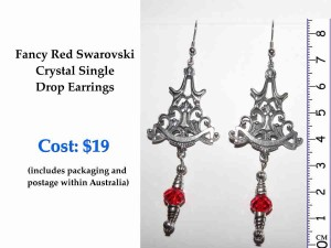 Fancy Red SW Crystal Single Drop Earrings Details SM