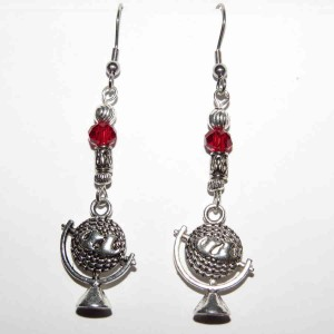Globe Red Swarovski Crystal Earrings SQ SM