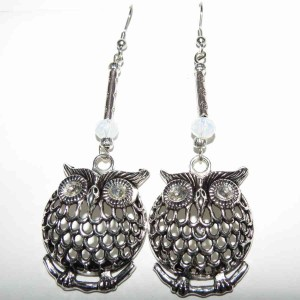 Owl, Large No 1 Milky White Sw Crystal Earrings SQ SM