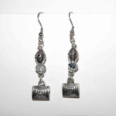 Rectangle single drop swarovski crystal earringsSQ