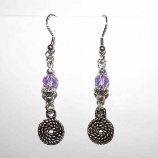 Swirly plait single drop swarovski crystal earringsSQ